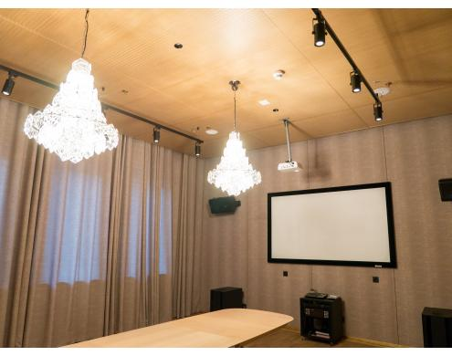 Ceiling acoustic treatment with Belner panels